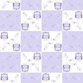 Cute blue seamless owl background patten for kids — Stock Photo
