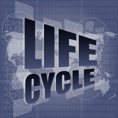 Life cycle words on digital touch screen — ストック写真
