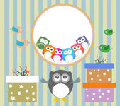 Birthday party elements with cute owls and birds — Stock Photo