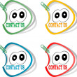 Contact us labels and cute cartoon eyes, stickers for the web page — Stock Photo