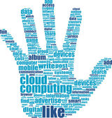 Hands, which is composed of text keywords on social media themes — Stock Photo