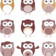 Set of nine cartoon owls with various emotions - Stock Photo