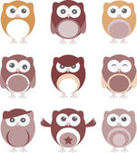 Set of nine cartoon owls with various emotions — Stock Photo