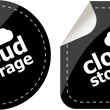 Cloud storage - black cloud computing icon stickers set — Stock Photo