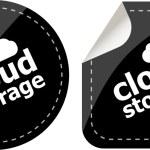 Cloud storage - black cloud computing icon stickers set — Stock Photo