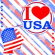 Royalty-Free Stock Photo: USA flag man with speech bubbles - i love usa
