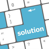 Wording solutions on computer keyboard — Stock Photo