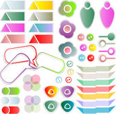 Scrapbook elements with a lot of tags and stickers — Stock Photo