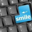 Computer keyboard with smile words on key - business concept — Stock Photo