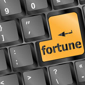 Foortune for investment concept with a orange button on computer keyboard — Stock Photo
