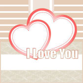 Valentines cards with two hearts and place for your text — Stockfoto