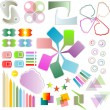 Set of scrapbook design elements - cute and bright frames, tags — ストック写真