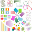 Foto Stock: Set of scrapbook design elements - cute and bright frames, tags