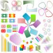 conjunto de elementos de diseño de bloc de notas - cuadros lindos y brillantes, etiquetas — Foto de Stock