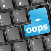 The word oops on a computer keyboard — Stock Photo