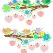 The bird sings sitting on tree branch with love heart - Stock Photo