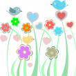 Stock Photo: Background with cute birds and flowers
