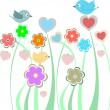 Background with cute birds and flowers — Foto de Stock