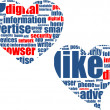Social media marketing - word cloud in heart — Stock Photo