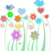 Background with cute birds and flowers — 图库照片
