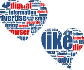 Social media marketing - word cloud in heart — Stock Photo