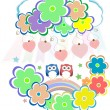 Cute valentine owls, birds, flowers and love hearts — Stock Photo