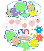 Leuke Valentijnskaart uilen, vogels, bloemen en liefde hart — Stockfoto