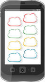 Cloud computing concept. Mobile phone with cloud icon — Stock Photo