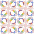 Flowers, leaves and love birds seamless pattern — Stock Photo