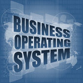 Business operating system word on digital touch screen — Stock Photo