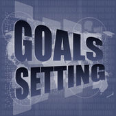 Goal setting concept - business touching screen — Stock Photo
