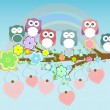 Owls birds and love heart tree branch - Stok fotoğraf