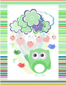 Owl in love and bird with flowers textile stickers — Stock Photo