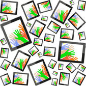 Tablet pc with hand on screen seamless pattern — Stock Photo