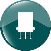 Pulsante icona arrotondati lucido con cartellone isolato su sfondo bianco — Foto Stock