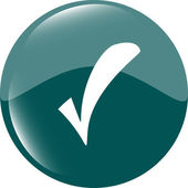 Green glossy web button with check mark sign. Rounded square shape icon — Stock Photo