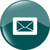 Email icon on glossy round button — 图库照片