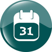 Calendar apps icon glossy button. day 31 — Stock Photo