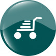 Shopping cart icon on round internet button original illustration — Foto Stock
