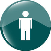 Icon button with man inside — Stock Photo