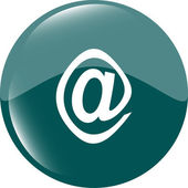 電子メール アイコン光沢のあるボタン — ストック写真