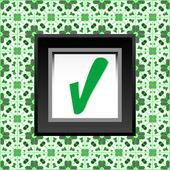 Markera symbolen på gröna vikta klistermärke bakgrundsdesign — Stockfoto