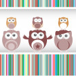 Stock Photo: Happy birthday party owls set