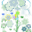 Birthday party card with cute birds and owl on trees and flowers — Stok fotoğraf