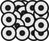 Bicycle background from many white wheels — Stock Photo