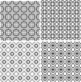Monochrome geometric seamless patterns set. backgrounds — Stock Photo