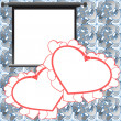 Red Valentine card, holiday background with photo frames, hearts and love text — ストック写真