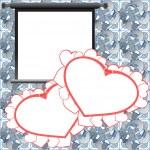 tarjeta de San Valentín rojo, fondo de vacaciones con marcos de fotos, corazones y texto de amor — Foto de Stock