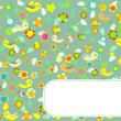 Greeting card design with bird and flower background — Stock Photo #24417981