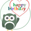 Happy birthday party card with cute owl — Stock Photo